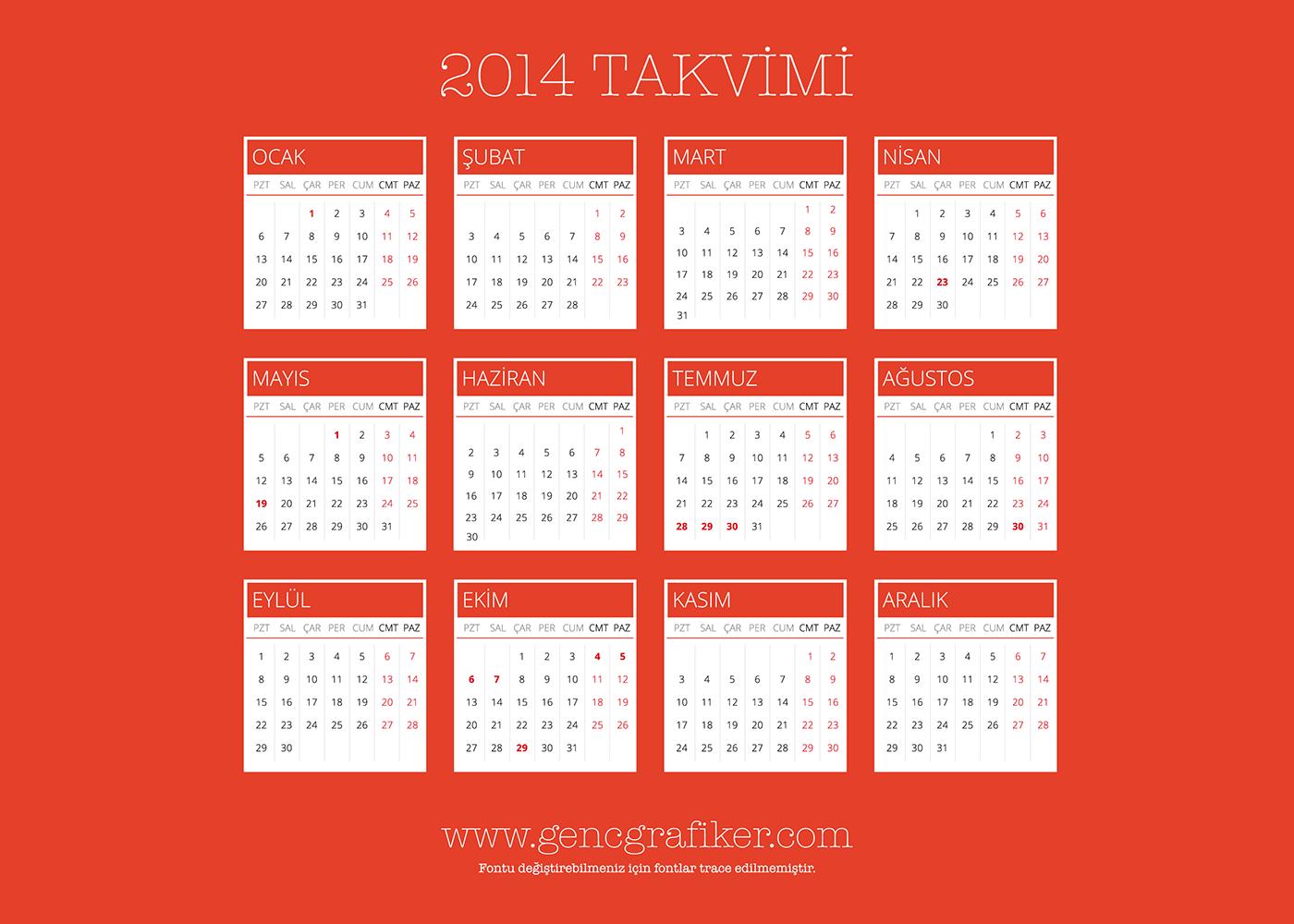 2014-vektorel-turkce-takvim