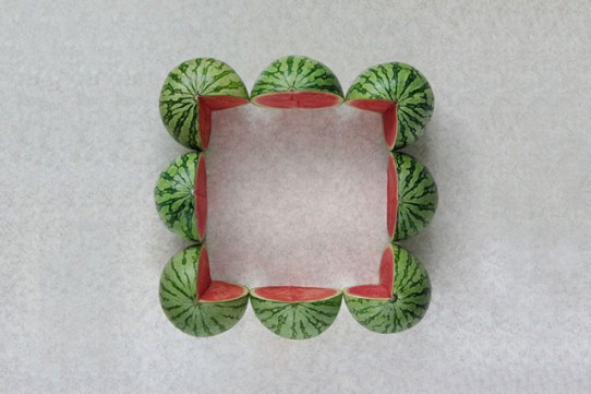 Meyve Ve Sebzeler Ile Geometrik Sanat Genç Grafiker