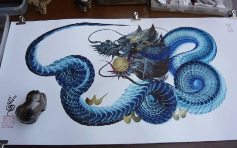 ornate-dragon-single-brush-painting-2
