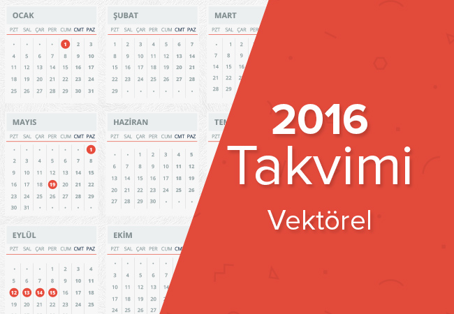 2016 Takvimi Türkçe Vektörel